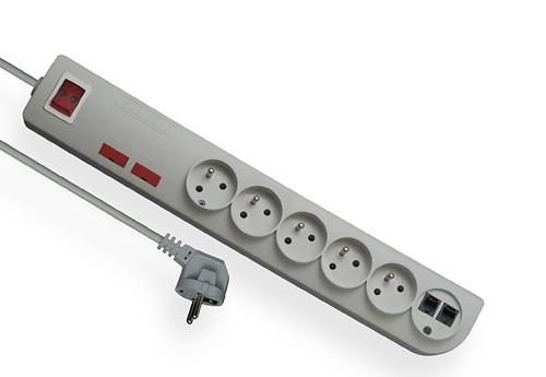 Przedłużacz przeciwprzepięciowy i przeciwzakłóceniowy z modułem telefonicznym pięciokrotny z uziemieniem i z wyłącznikiem